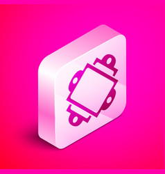 Isometric ticket icon isolated on pink background vector
