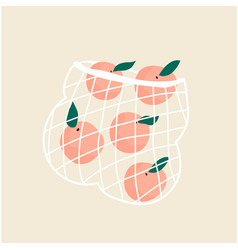 juicy ripe peaches in a mesh eco bag vector image