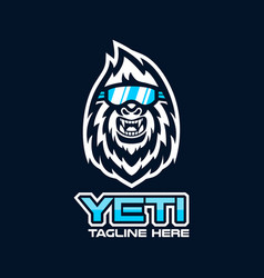 modern yeti head mascot logo vector image
