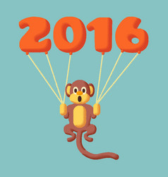 monkey dotted symbol 2016 with balloons vector image