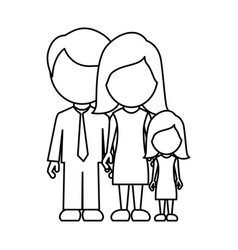 monochrome contour faceless with dad mom and vector image
