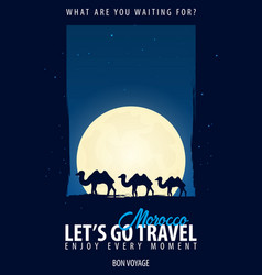 Morocco time to travel journey trip and vector