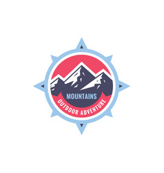mountains sdventure outdoors - concept badge vector image