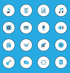 Music colorful icons set collection of tambourine vector