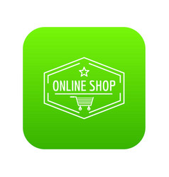 online market icon green vector image