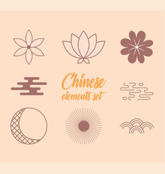 Oriental element decoration lotus flower and vector