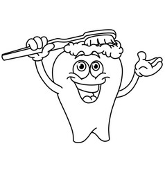 outlined brushing tooth vector image