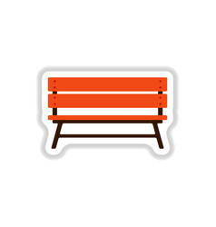 Park bench in paper sticker style vector