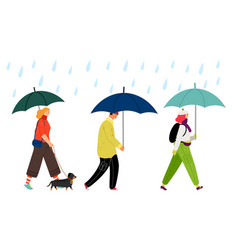 people walking under rain vector image