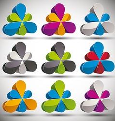 Petals 3d icon set vector
