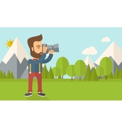 Photographer taking a picture vector