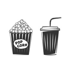 pop corn and disposable cup isolated on white vector image