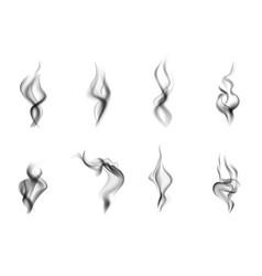 realistic steam smoke black icon set vector image