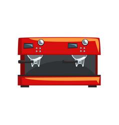 Red coffee machine espresso coffee maker cartoon vector