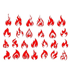 Red fire icons and pictograms set vector