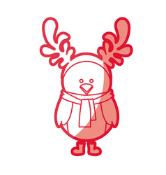 Red silhouette of chicken with horns of reindeer vector