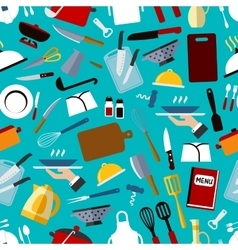 Restaurant kitchen utensils seamless pattern vector image