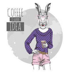 Retro hipster fashion animal rabbit with coffee vector