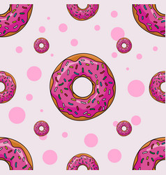 Seamless background with cartoon donuts vector