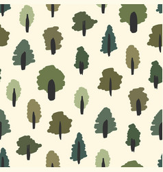 seamless simple summer forest tree pattern vector image