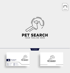 Search pet animal logo template with line art vector