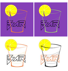 set logo with a glass lemon slice and the vector image