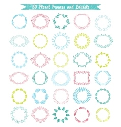 set of 30 hand drawn frames and laurels vector image