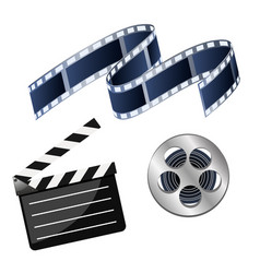 Set of cinema consisting of coil with film film vector
