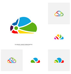 set of colorful cloud logo design concept cloud vector image