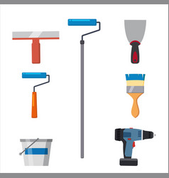 set tools paint roller brush putty knife spatula vector image