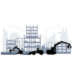 Silhouette a construction site vector