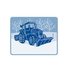 Snow plow tractor plowing winter scene vector