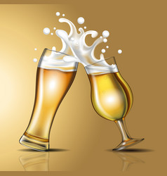 splashing beer in a glass vector image
