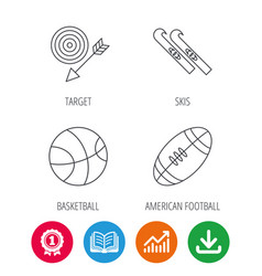 sport fitness skis and basketball icons vector image