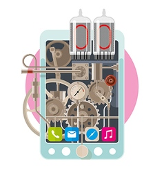Start up concept steampunk phone vector image