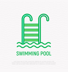 Swimming pool thin line icon vector