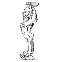 Table leg have lion face in left side in design vector