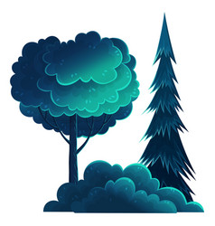 tall deciduous and coniferous trees isolated on vector image
