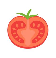 tasty half tomato icon flat isolated vector image