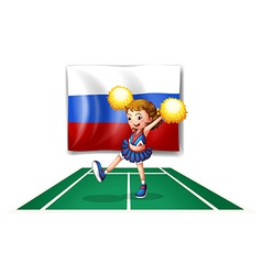 The cheerleader and the Russian flag vector