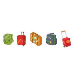 Travel bag icon set cartoon style vector