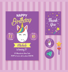 Unicorn birthday invitation template vector