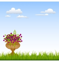 Vase with flowers on a green grass in front of vector