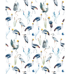 Watercolor african crane pattern vector