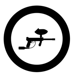 weapons for paintball icon black color in circle vector image