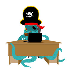 web pirate octopus and laptop poulpe internet vector image