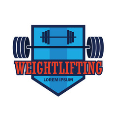 Weight lifting logo with text space vector