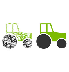 wheeled tractor composition of repair tools vector image