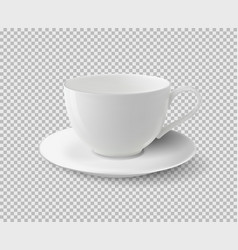 White ceramic cup realistic cup on vector