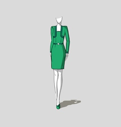 Woman in form-fitting dress vector